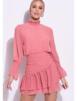 frill-polka-dot-shirred-high-neck-mini-dress-pink by lily-lulu-fashion