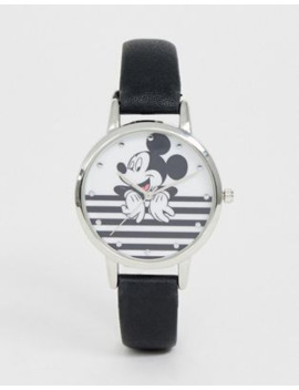 disney-mickey-mouse-stripe-watch-in-black_white by asos