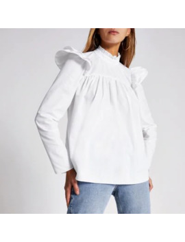 white-long-sleeve-poplin-smock-blouse by river-island