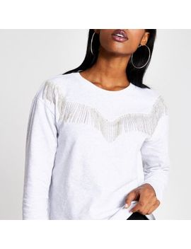 grey-diamante-fringe-western-sweatshirt by river-island