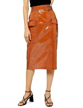 belted-vinyl-midi-skirt by topshop