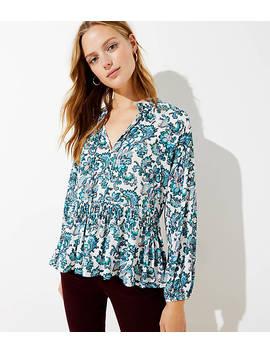 paisley-split-neck-peplum-blouse by loft