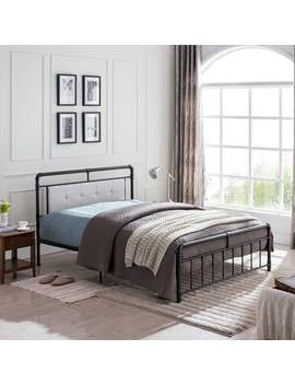 goddard-industrial-upholstered-headboard-queen-size-bed-frame-by-christopher-knight-home---upholstered_metal---beige-+-black by christopher-knight-home