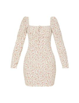 cream-floral-square-neck-shift-dress- by prettylittlething