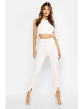 Seam Front Split Tailored Leggings by Boohoo
