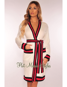 Off White Red Black Striped Knit Belted Sweater Cardigan/Dress by Hot Miami Style