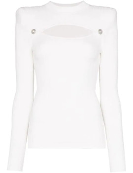 button-embellished-cutout-ribbed-knit-top by balmain