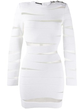 sheer-panels-short-dress by balmain
