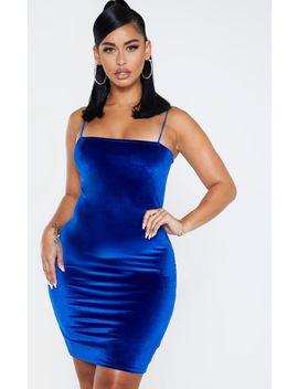 shape-cobalt-velvet-strappy-mini-dress by prettylittlething