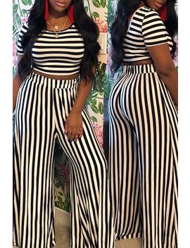 roaso-casual-striped-printed-two-piece-pants-set by roaso