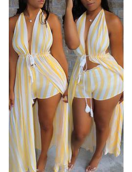 Roaso Casual  Striped Two Piece Shorts Set by Roaso