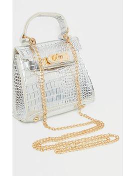 silver-croc-mini-micro-bag by prettylittlething
