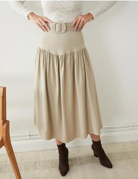 Tan Belted Skirt by Pixie Market