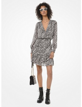 Zebra Print Georgette Ruffled Dress by Michael Michael Kors