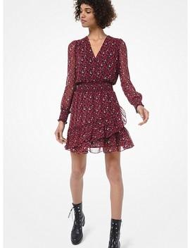 Leaf Print Georgette Ruffle Dress by Michael Michael Kors