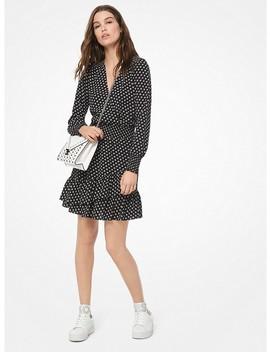 Dot Crepe Ruffled Dress by Michael Michael Kors