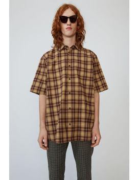 check-print-shirt-banana-yellow_almond-brown by acne-studios