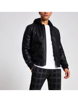 black-faux-leather-hooded-bomber-jacket by river-island