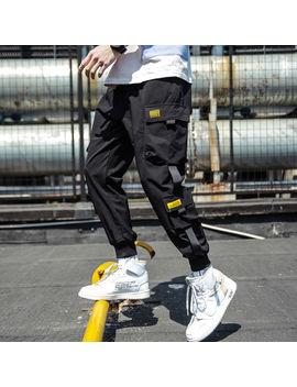 2019-spring-hip-hop-joggers-men-black-harem-pants-multi-pocket-ribbons-man-sweatpants-streetwear-casual-mens-pants-m-3xl by aliexpresscom