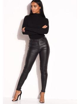 pu-faux-leather-high-waisted-stretch-skinny-jeans-black by lily-lulu-fashion
