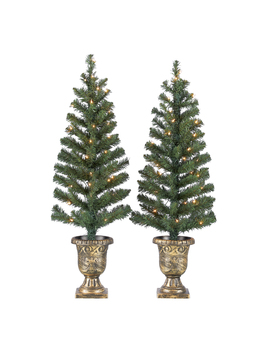 holiday-time-prelit-bronze-conical-christmas-trees-(set-of-2),-35-ft by holiday-time