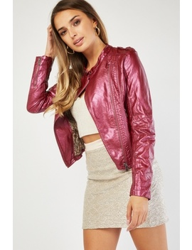 metallic-faux-leather-biker-jacket by everything5pounds