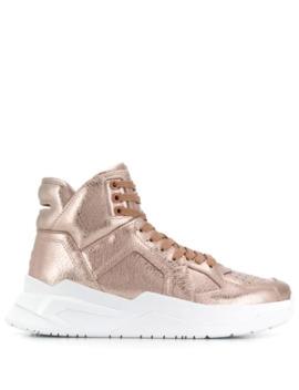 metallic-hi-top-sneakers by balmain