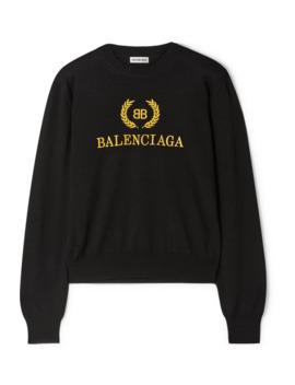 pull-en-laine-à-broderies by balenciaga