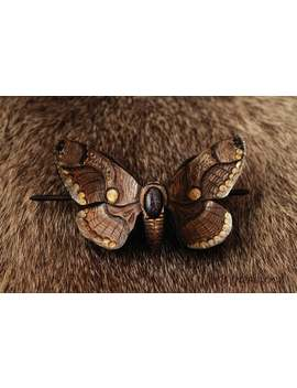 leather-barrette-moth-butterfly-brahmin-hairpin-carved-hair-clip-beautiful-hairstyle-for-long-hair-natural-faerie-woodland-forest-elven-gift by etsy
