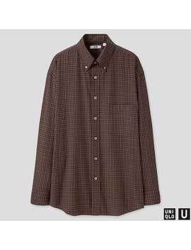 men-uniqlo-u-wide-fit-checked-shirt by uniqlo