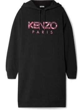 oversized-hooded-appliquéd-cotton-jersey-mini-dress by kenzo