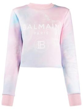 logo-print-tie-dye-sweatshirt by balmain