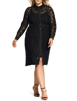 noble-lace-long-sleeve-shirtdress by city-chic