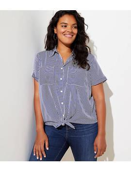 loft-plus-striped-short-sleeve-shirt by loft