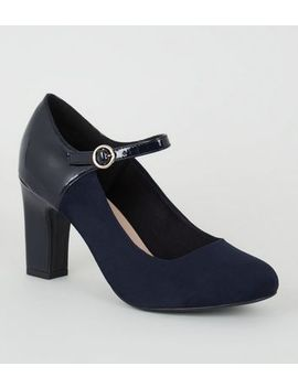 wide-fit-navy-mixed-mary-jane-court-shoes by new-look