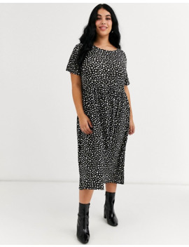 wednesdays-girl-curve-midi-dress-in-smudge-spot-print by asos