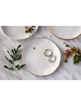 natural-white-ring-dish,-personalized-monogram-textured-plate,-heart-trinket-tray,-bridesmaid-gift,-wedding-ring-holder,-minimalist-dish by etsy