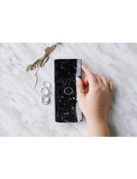 black-silver-splatter-ring-dish,-glass-trinket-tray,-rectangle-jewellery-plate,-bridesmaid-gift,-bridal-party-gift,-gift-for-her by etsy