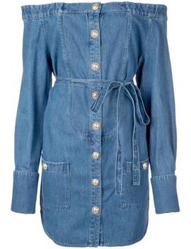 off-shoulder-denim-dress by balmain