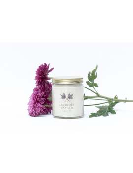 lavender-vanilla-soy-candle-jar---9-oz---all-natural,-eco-friendly-100%-soy-wax-candle by etsy