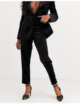 asos-design-velvet-tux-suit-slim-trousers-in-wine by asos-design