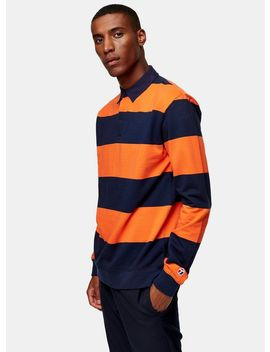 orange-and-navy-stripe-rugby-shirt by topman