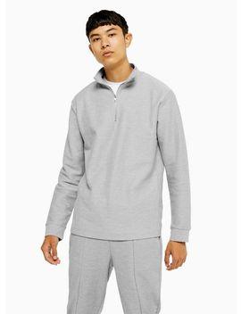 grey-twill-1_4-zip-sweatshirt by topman