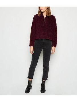 burgundy-teddy-half-zip-sweatshirt by new-look