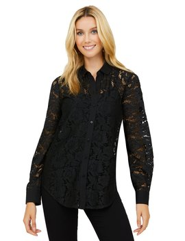 Allover Lace Button Down Shirt by Suzy Shier