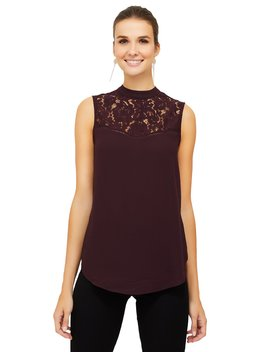Lace Yoke Sleeveless Chiffon Blouse by Suzy Shier