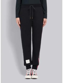 Navy Loopback Stripe Sweatpants by Thom Browne