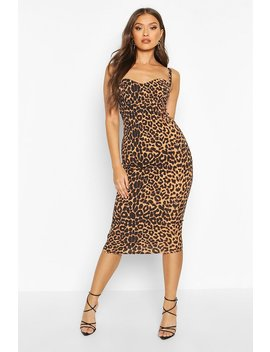 leopard-print-cupped-midi-dress by boohoo