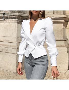 Nlw Blanc Manches Longues Automne Blouses Hauts Femmes 2019 élégant Peplum Blouse Chemises Vintage Col En V Bureau Manches Bouffantes Blusa by Ali Express.Com