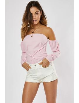 pastel-pink-twist-front-bardot-top by in-the-style